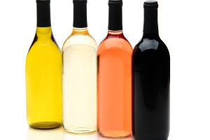 Four Different Wine Bottles on White