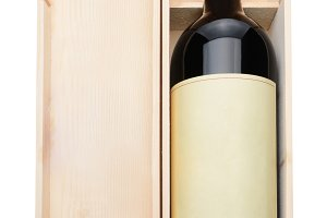 Wine Bottle and Wood Box