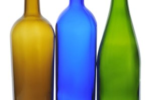 Three Empty Wine Bottles
