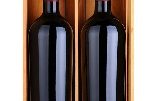 Two Red Wine Bottles in Wood Case