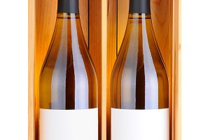 Two White Wine Bottles in Wood Case