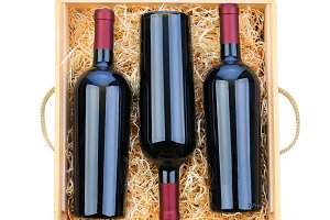 Three Red Wine Bottles in Wood Case
