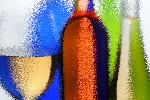 Wine Glass and Bottles Abstract