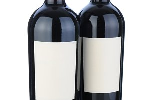 Two Cabernet Bottles with Blank Labe