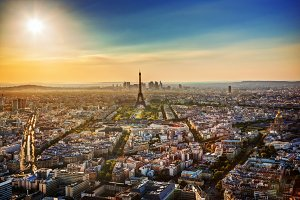 Paris at sunset. Aerial view
