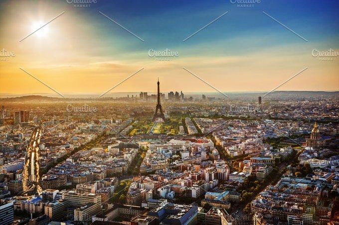 Paris at sunset. Aerial view - Architecture