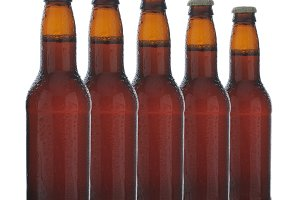 Five Brown Beer Bottles