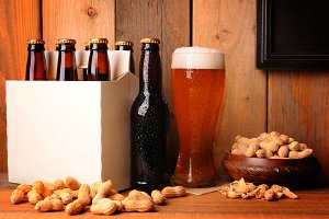 Beer and Peanuts in Rustic Setting