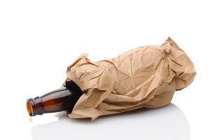 Beer Bottle in Brown Bag