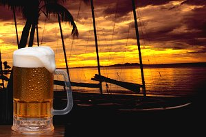 Beer Mug and Tropical Sunset