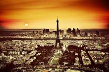 Paris at sunset. Vintage