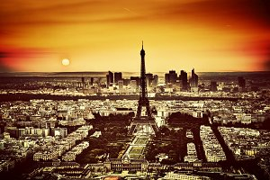 Paris at sunset. Vintage