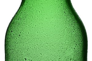 Closeup Green Bottle With Condensati
