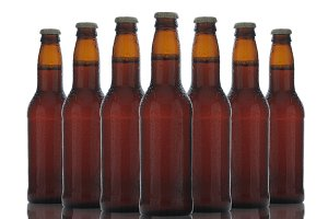 Brown Beer Bottles Over White