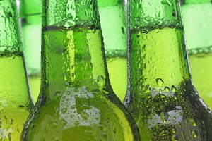 Group of Green Beer Bottles