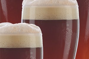 Closeup Dark Beer Glasses