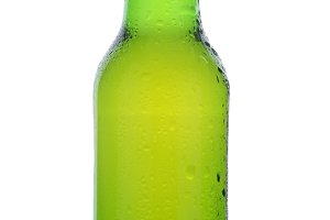 Closeup Green Beer Bottle