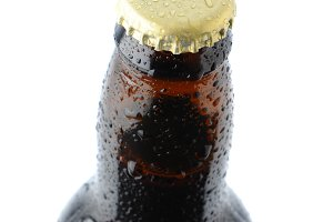 Closeup of a beer bottle cap and nec