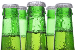 Five Green Beer Bottles