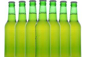 Green Beer Bottles Over White