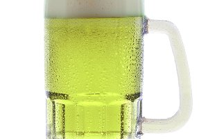 Mug of Green Beer on White