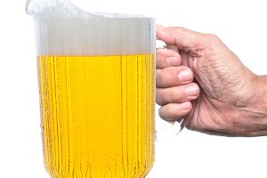 Hand Holding Beer Pitcher