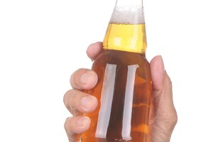 Hand with Clear Beer Bottle