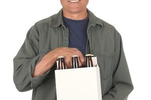Middle aged man Holding a six pack o