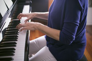 Woman plays piano