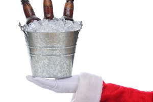 Santa with beer bucket