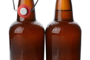 Swing Top Beer Bottles One Open