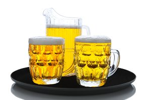 Beer Pitcher and Glasses on Tray