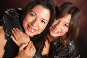 Attractive Hispanic Mother & Daughte