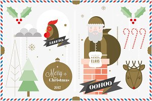 Christmas Postcard Elements