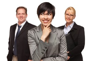 Businesswoman with Team Portrait on