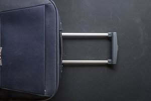 close up grip handle of large luggag