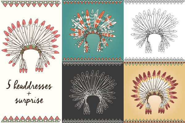 5 Indian Chief Headdresses + gift