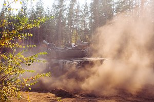 real battle tanks in motion along th