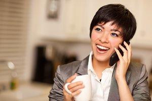 Multiethnic Woman with Coffee Talks