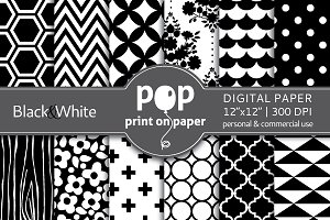 Black & White - 12 digital papers