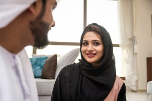 Arabian couple at home