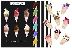 Vector Set of colorful Ice Creams