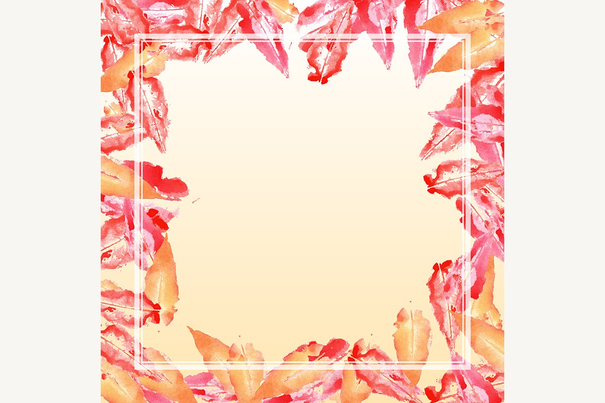 Autumn Fall Leaf Stamp Frame Border Illustrations Creative Market