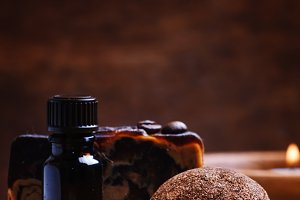 Coffee spa: soap, oil, salt, candles