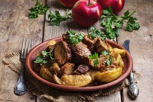 Pork stew with apple sauce, vintage