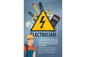 Electrician with electrical items