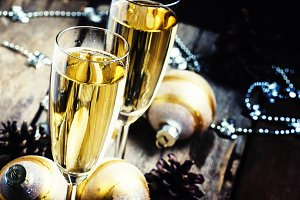Dry Champagne in glasses, Christmas