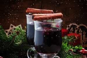 Mulled wine with cinnamon and anise,