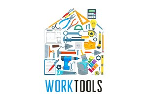 House with work tool icons