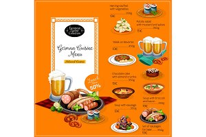 German cuisine restaurant menu
